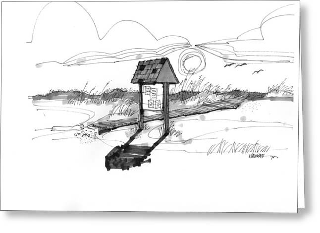 North Shore Drawings Greeting Cards - This way to the sea Ocracoke 1970s Greeting Card by Richard Wambach