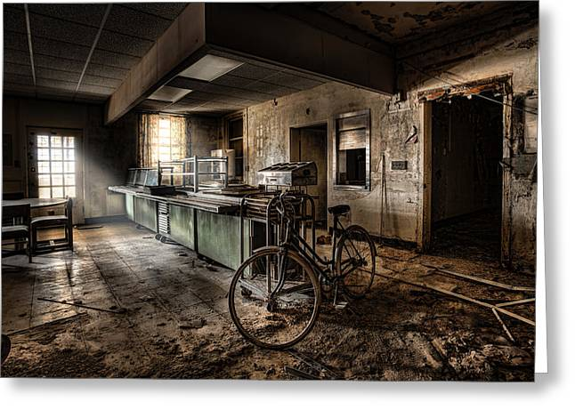 Creepy Digital Art Greeting Cards - This would be the end - Cafeteria - Abandoned Asylum Greeting Card by Gary Heller