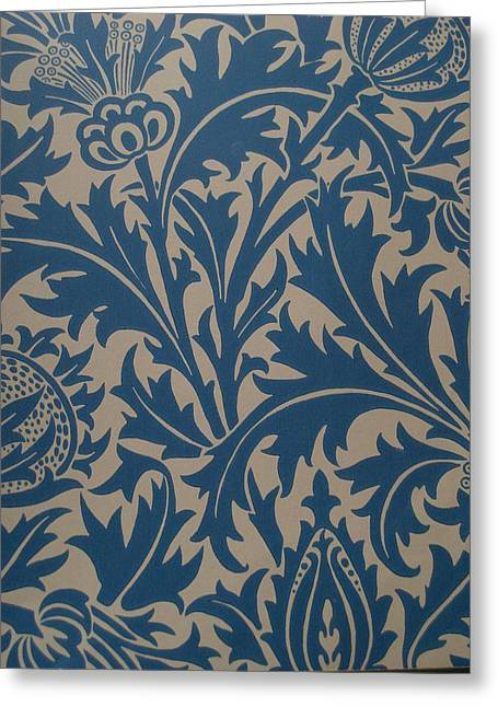 Old Tapestries - Textiles Greeting Cards - Thistle Design Greeting Card by William Morris