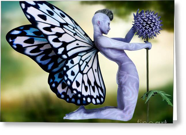Blue Thistles Greeting Cards - Thistle Fairy Greeting Card by Sandra Bauser Digital Art