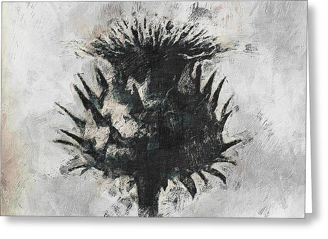 Grey Background Greeting Cards - Thistle Greeting Card by Gun Legler