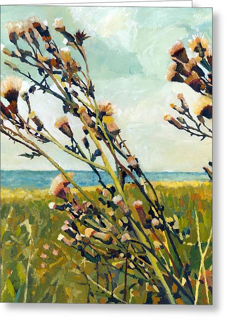 Recently Sold -  - Sand Patterns Greeting Cards - Thistles on the Beach - Oil Greeting Card by Michelle Calkins