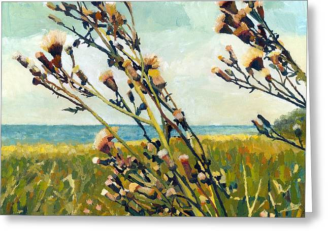 Thistles on the Beach - Oil Greeting Card by Michelle Calkins