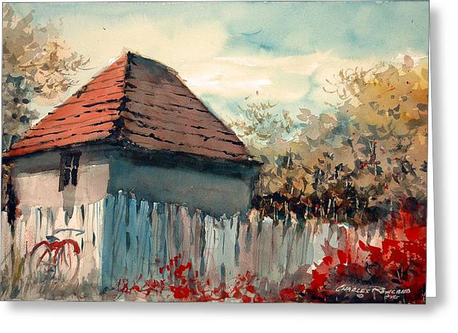 Shed Paintings Greeting Cards - TheGarden Path Greeting Card by Charles Rowland