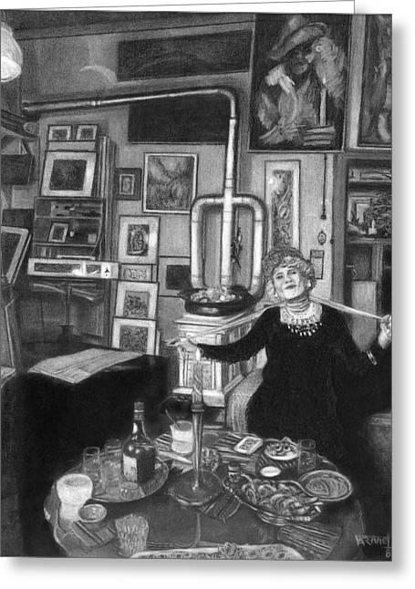 Table Wine Drawings Greeting Cards - Tho Bohemian Greeting Card by Fernando Armel