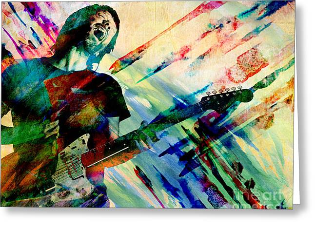 Trance Greeting Cards - Thom Yorke - Radiohead - Original Painting Print Greeting Card by Ryan RockChromatic