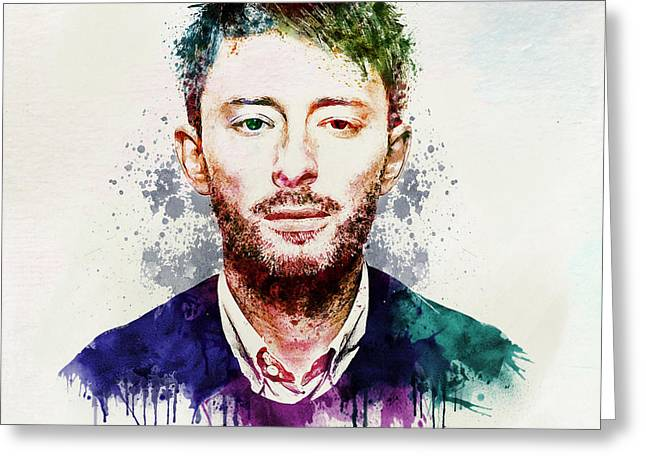 Sized Mixed Media Greeting Cards - Thom Yorke watercolor Greeting Card by Marian Voicu