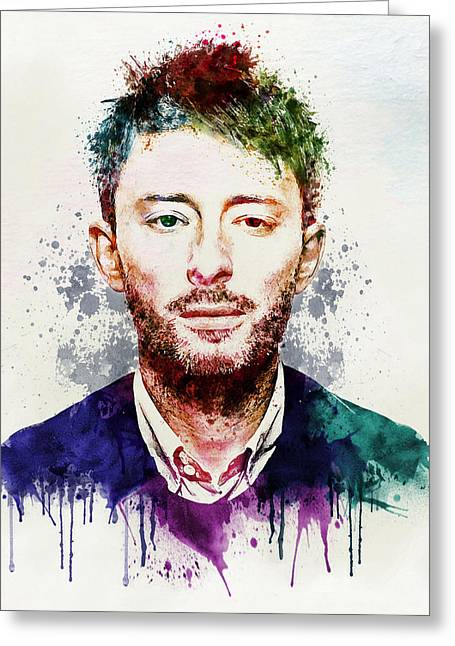 Dark Turquoise Greeting Cards - Thom Yorke watercolor Greeting Card by Marian Voicu