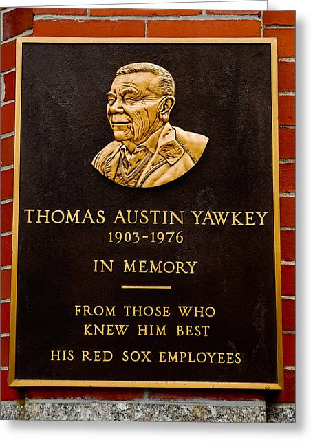 Boston Red Sox Greeting Cards - Thomas A. Yawkey Plaque Greeting Card by Jerry Coli