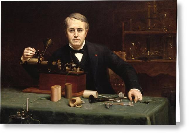 Thomas Alva Edison Greeting Cards - Thomas Alva Edison Greeting Card by Abraham Anderson
