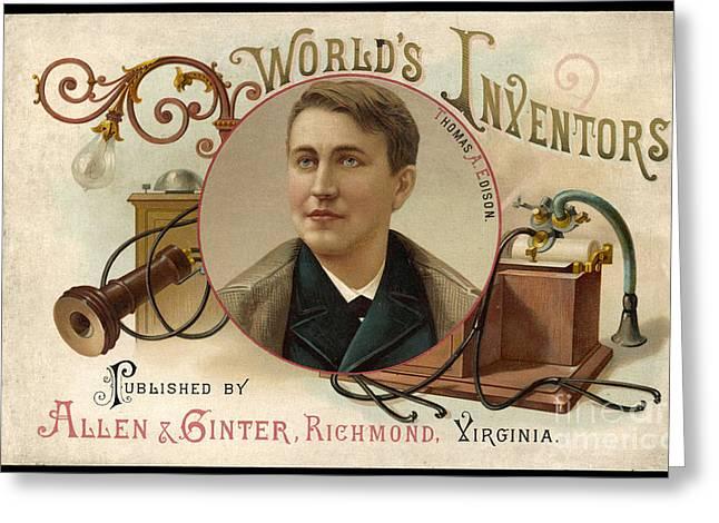 Thomas Alva Edison Greeting Cards - Thomas Alva Edison American Inventor Greeting Card by Mary Evans