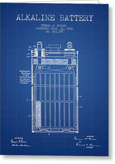Edison Greeting Cards - Thomas Edison Alkaline Battery from 1906 - Blueprint Greeting Card by Aged Pixel