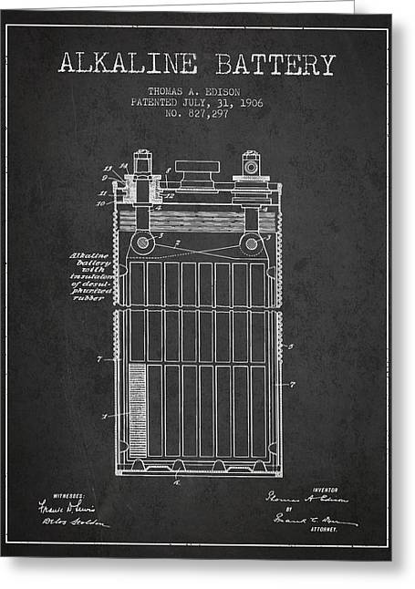 Thomas Edison Alkaline Battery From 1906 - Charcoal Greeting Card by Aged Pixel