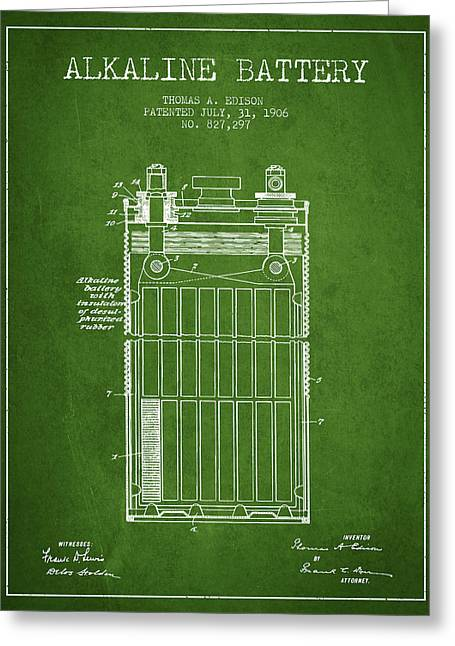 Edison Greeting Cards - Thomas Edison Alkaline Battery from 1906 - Green Greeting Card by Aged Pixel