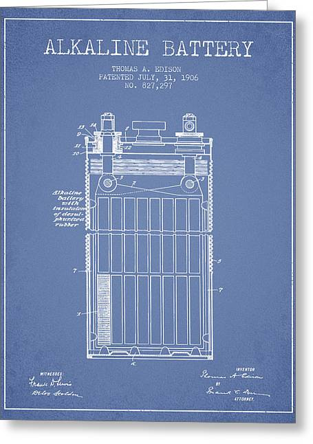 Edison Greeting Cards - Thomas Edison Alkaline Battery from 1906 - Light Blue Greeting Card by Aged Pixel