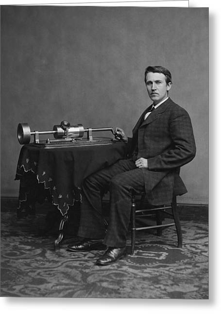 Edison Greeting Cards - Thomas Edison and Phonograph 1878 Greeting Card by Mountain Dreams