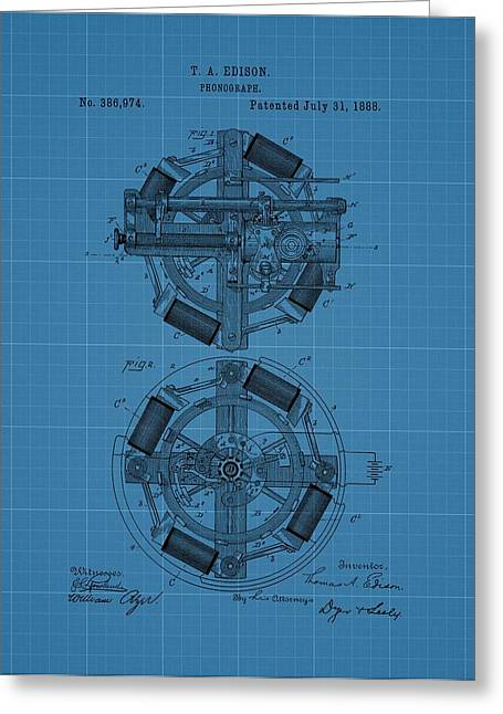 Noise . Sounds Drawings Greeting Cards - Thomas Edison Blueprint Phonograph Greeting Card by Dan Sproul