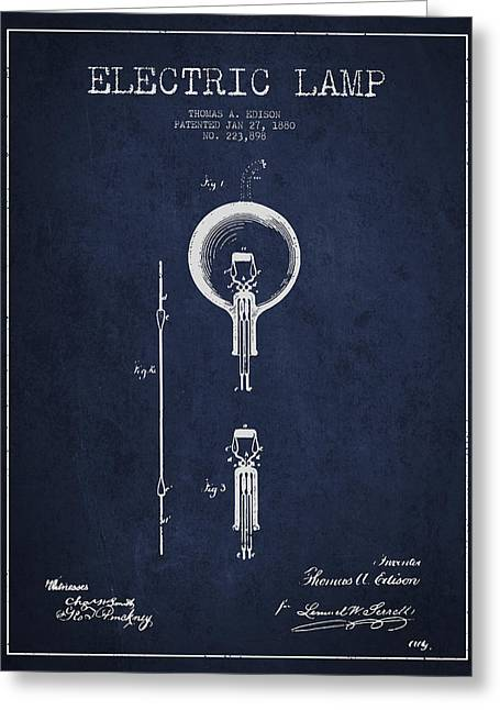 Thomas Edison Greeting Cards - Thomas Edison Electric Lamp Patent from 1880 - Blue Greeting Card by Aged Pixel