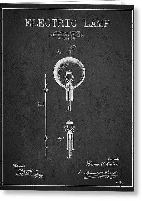 Thomas Edison Greeting Cards - Thomas Edison Electric Lamp Patent from 1880 - Dark Greeting Card by Aged Pixel
