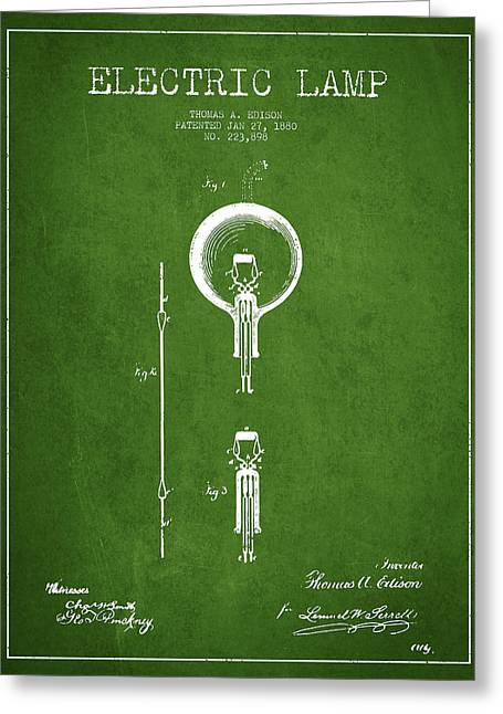 Thomas Edison Greeting Cards - Thomas Edison Electric Lamp Patent from 1880 - Green Greeting Card by Aged Pixel