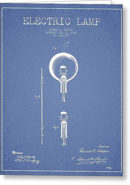 Edison Greeting Cards - Thomas Edison Electric Lamp Patent from 1880 - Light Blue Greeting Card by Aged Pixel