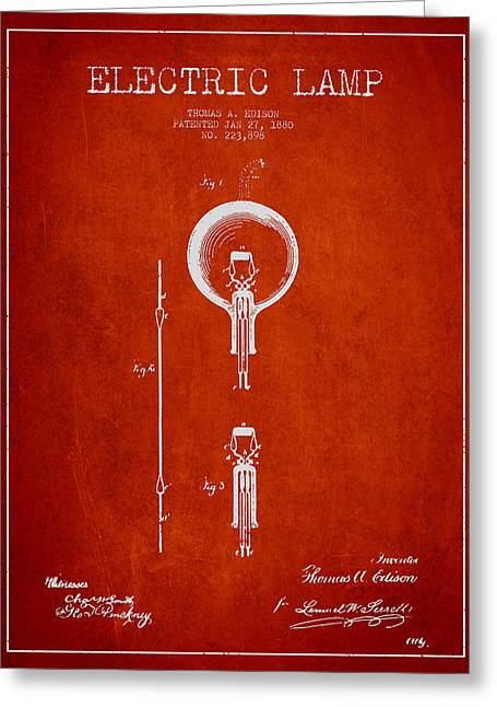 Thomas Greeting Cards - Thomas Edison Electric Lamp Patent from 1880 - Red Greeting Card by Aged Pixel