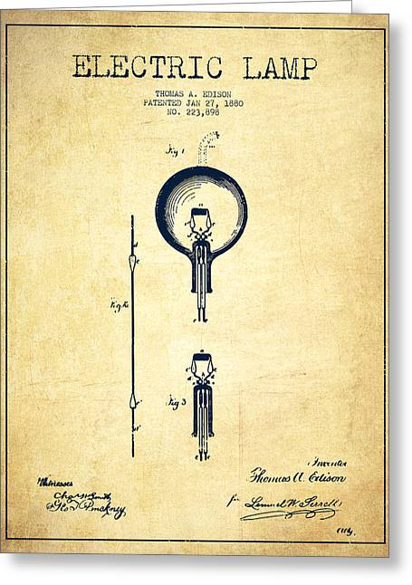 Edison Greeting Cards - Thomas Edison Electric Lamp Patent from 1880 - Vintage Greeting Card by Aged Pixel