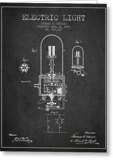 Edison Greeting Cards - Thomas Edison Electric Light Patent from 1880 - Charcoal Greeting Card by Aged Pixel