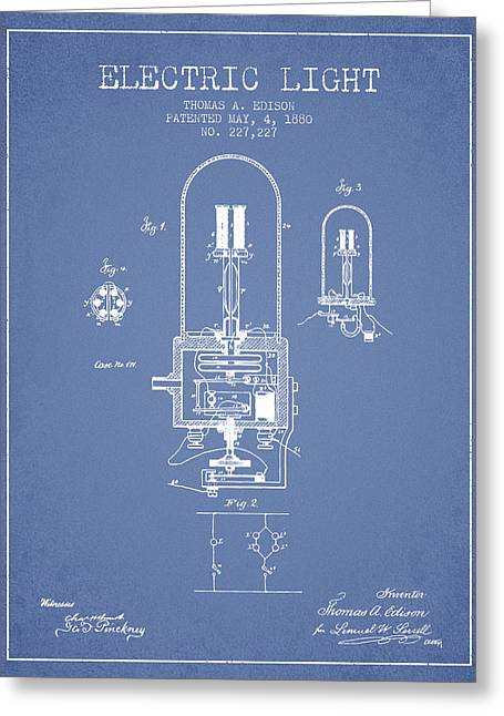 Thomas Greeting Cards - Thomas Edison Electric Light Patent from 1880 - Light Blue Greeting Card by Aged Pixel