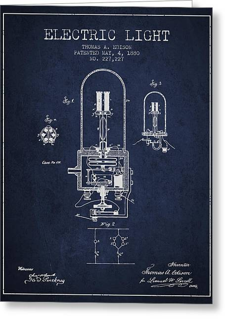 Edison Greeting Cards - Thomas Edison Electric Light Patent from 1880 - Navy Blue Greeting Card by Aged Pixel