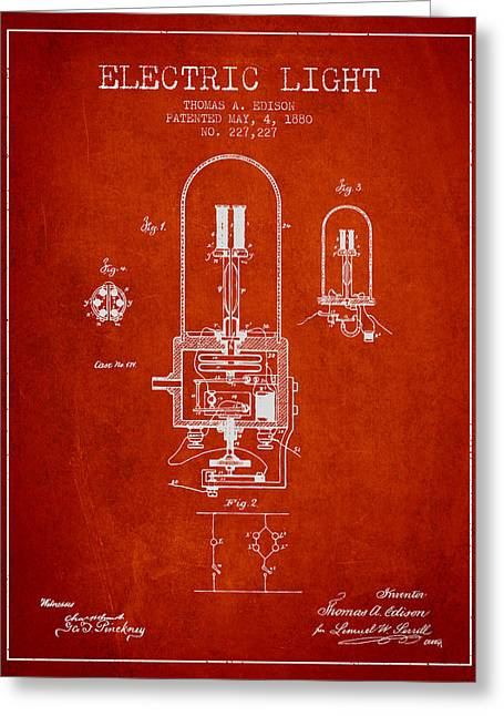 Incandescent Greeting Cards - Thomas Edison Electric Light Patent from 1880 - Red Greeting Card by Aged Pixel