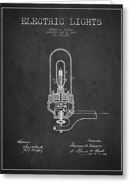 Thomas Greeting Cards - Thomas Edison Electric Lights Patent from 1880 - Dark Greeting Card by Aged Pixel