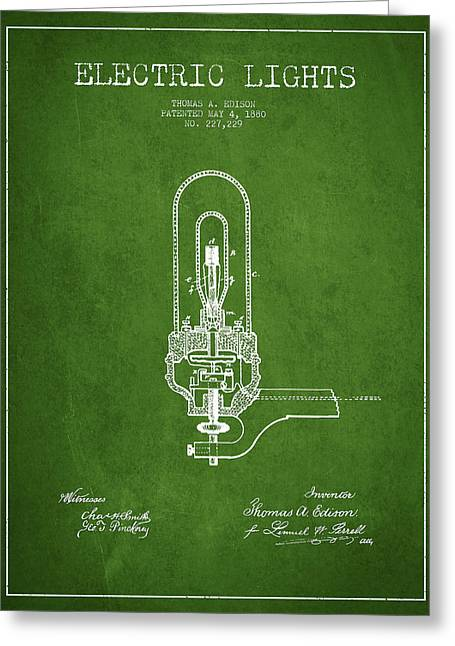 Thomas Greeting Cards - Thomas Edison Electric Lights Patent from 1880 - Green Greeting Card by Aged Pixel
