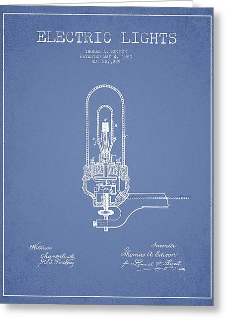 Edison Greeting Cards - Thomas Edison Electric Lights Patent from 1880 - Light Blue Greeting Card by Aged Pixel