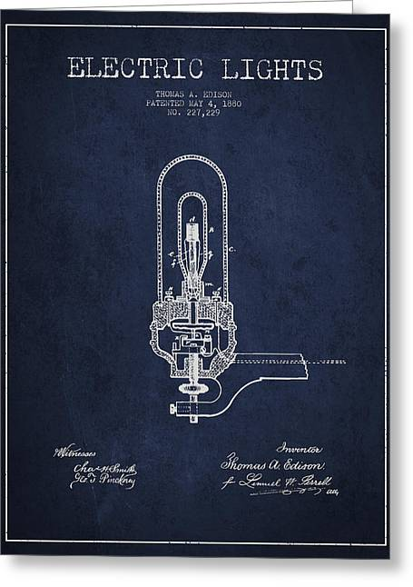 Edison Greeting Cards - Thomas Edison Electric Lights Patent from 1880 - Navy Blue Greeting Card by Aged Pixel