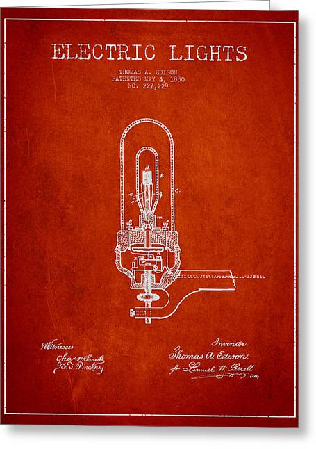 Edison Greeting Cards - Thomas Edison Electric Lights Patent from 1880 - Red Greeting Card by Aged Pixel