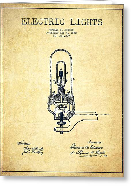 Incandescent Greeting Cards - Thomas Edison Electric Lights Patent from 1880 - Vintage Greeting Card by Aged Pixel