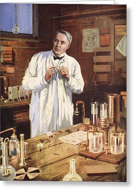Lab Drawings Greeting Cards - Thomas Edison In His Workshop Greeting Card by John Cameron