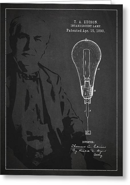 Thomas Edison Greeting Cards - Thomas Edison Incandescent Lamp Patent Drawing From 1890 Greeting Card by Aged Pixel