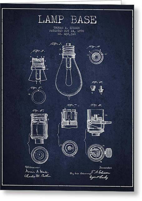 Thomas Greeting Cards - Thomas Edison Lamp Base Patent from 1890 - Blue Greeting Card by Aged Pixel