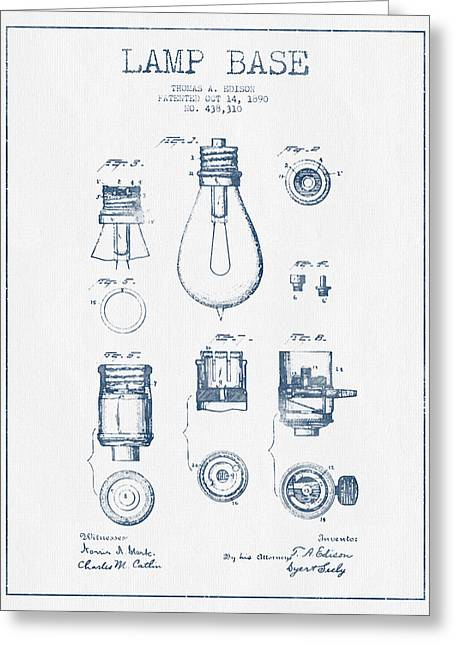 Thomas Greeting Cards - Thomas Edison Lamp Base Patent from 1890 - Blue Ink Greeting Card by Aged Pixel