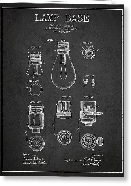 Thomas Greeting Cards - Thomas Edison Lamp Base Patent from 1890 - Dark Greeting Card by Aged Pixel
