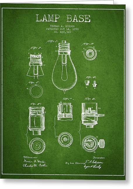 Thomas Edison Greeting Cards - Thomas Edison Lamp Base Patent from 1890 - Green Greeting Card by Aged Pixel