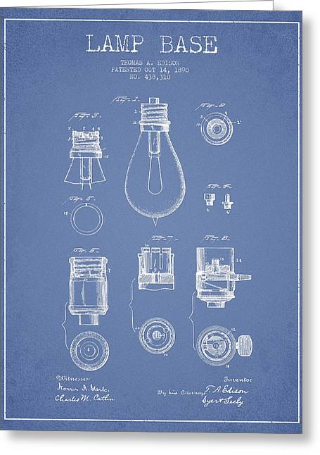 Incandescent Greeting Cards - Thomas Edison Lamp Base Patent from 1890 - Light Blue Greeting Card by Aged Pixel