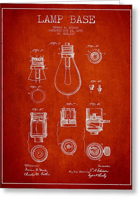 Thomas Greeting Cards - Thomas Edison Lamp Base Patent from 1890 - Red Greeting Card by Aged Pixel