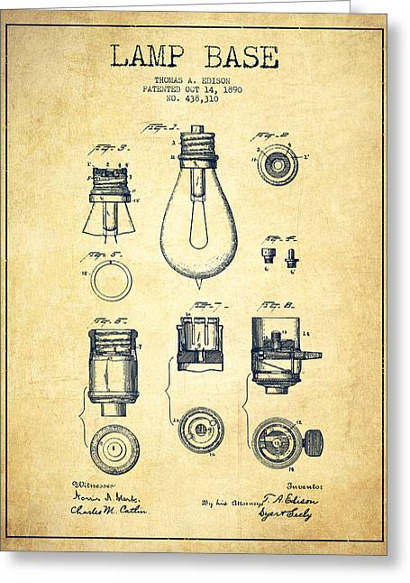Technical Greeting Cards - Thomas Edison Lamp Base Patent from 1890 - Vintage Greeting Card by Aged Pixel