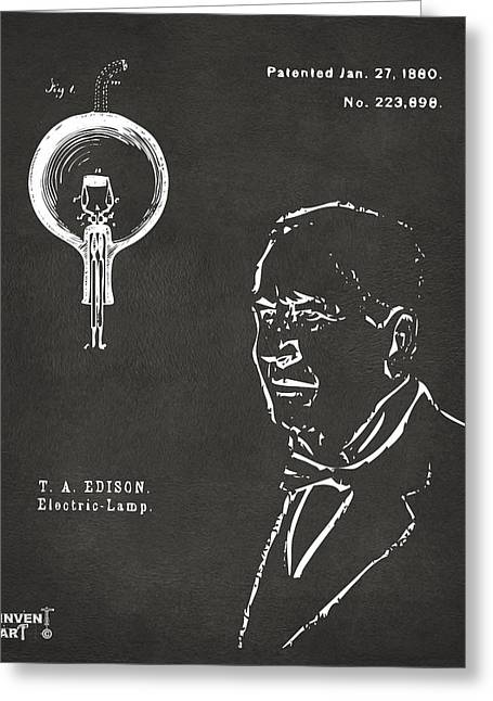 Edison Greeting Cards - Thomas Edison Lightbulb Patent Artwork Gray Greeting Card by Nikki Marie Smith