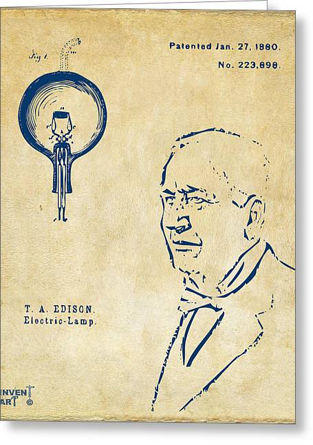 Edison Greeting Cards - Thomas Edison Lightbulb Patent Artwork Vintage Greeting Card by Nikki Marie Smith