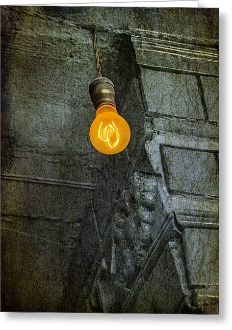 Lit Greeting Cards - Thomas Edison Lightbulb Greeting Card by Susan Candelario