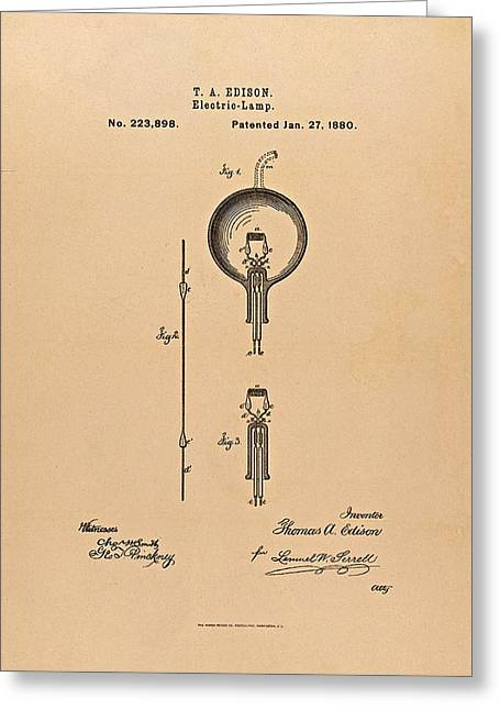 Edison Greeting Cards - Thomas Edison Patent Application for the Light Bulb Greeting Card by Movie Poster Prints